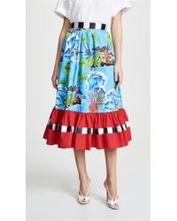 Stella Jean - Printed Cotton Midi Skirt - Lyst