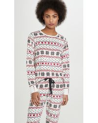 Pj Salvage Holiday Love Waffle Top - White