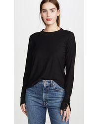 Nation Ltd Joni Mock Neck Pullover With Snap Cuffs - Black