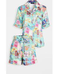 Karen Mabon Wish You Were Here Short Sleeve Pyjama Set - Green