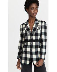 Pushbutton Check Bolero Layered Jacket - Black