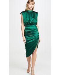 Veronica Beard Kendall Shirred Sleeveless Dress - Green