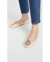 Tory Burch Quilted Minnie Flats - Natural