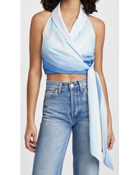 By Any Other Name Gathered Wrap Halter Top - Blue