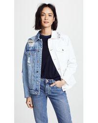 SJYP Half And Half Denim Jacket - Blue
