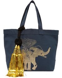 Figue Flying Elephant Tote - Blue