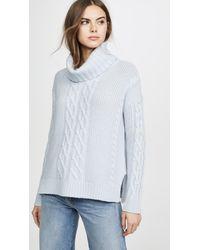 TSE Cowl Neck Cashmere Poncho Sweater - Blue