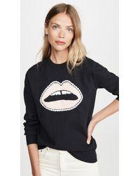 Markus Lupfer Mia Crochet Lip Sweatshirt - Black