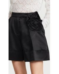 Simone Rocha Sculpted Shorts With Rose Flower Detail - Black