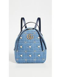 What Goes Around Comes Around Gucci Blue Denim GG Marmont Backpack