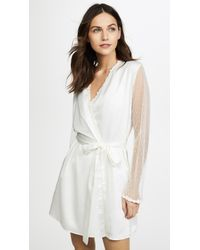 Flora Nikrooz Showstopper Charmeuse Robe With Lace - White