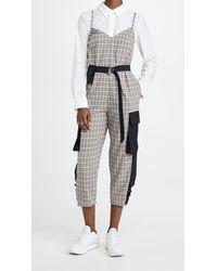 Tibi Sana Check Jumpsuit With Removable Pocket Belt - Blue