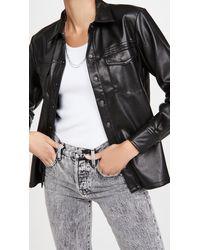 GOOD AMERICAN Leather Like Military Shirt - Black
