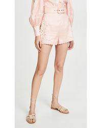 Zimmermann Freja Embroidered High Waist Shorts - Pink