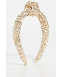 Loeffler Randall Teddie Knotted Plissé-lamé Headband - Metallic