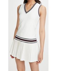 Tory Sport Performance V Neck Tennis Dress - White