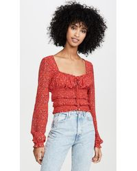 Free People Printed Lolita Top - Red