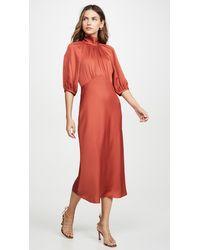 Rebecca Taylor Short Sleeve Satin Tie Dress - Red