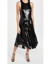 Tibi Eclair Sequin Beading Halter Dress - Black