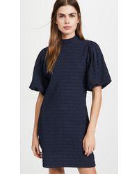 Scotch & Soda Mini Dress With Volumionous Sleeve - Blue