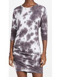Sundry 3/4 Side Shirred Dress - Grey