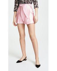 Cynthia Rowley - Phoebe Pleated Silk Wool Shorts - Lyst