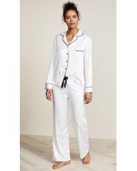 Bluebella Claudia Long Satin Shirt And Pants Pajama Set - White