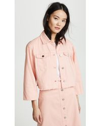 Elizabeth and James Branson Cropped Denim Jacket - Pink
