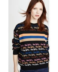 COACH Rainbow Horse And Carriage Crew Neck Sweater - Blue