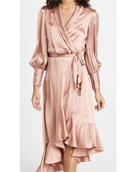 Zimmermann Silk Wrap Midi Dress - Pink