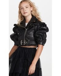 Simone Rocha Puff Sleeve Biker Detail Jacket - Black