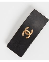What Goes Around Comes Around Chanel Black Leather Barrette