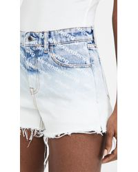 Alexander Wang Pebble Bleach Logo Ombre Bite Shorts - Blue