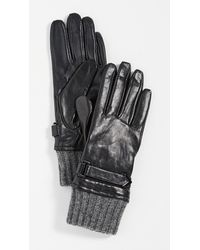 Mackage Fia Leather Gloves With Ribbed Cuff - Black