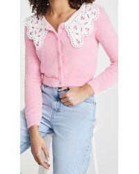 Glamorous Lace Collar Cardigan - Pink