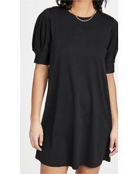 Susana Monaco Pleated Sleeve T-shirt Dress - Black