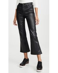 AG Jeans The Quinne Leatherette Light Cropped Jeans - Black