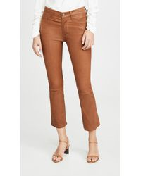 FRAME Le Crop Mini Boot Leather Trousers - Brown