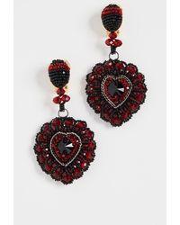 Oscar de la Renta Emb Heart Earring - Multicolour