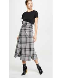 3.1 Phillip Lim Plaid Belted Topstitch Skirt - Multicolor