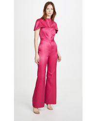 Brandon Maxwell Silk Cap Sleeve Jumpsuit - Pink
