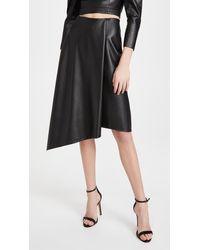Alice + Olivia Jayla Vegan Leather Drape Slit Skirt - Black