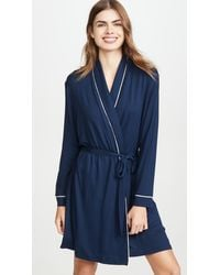 Eberjey Gisele Tuxedo Robe - Blue