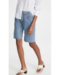 Rag & Bone Rosa Mid Rise Walking Shorts - Blue