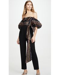 Self-Portrait Stripe Sequin Jumpsuit - Black