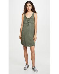 Splendid Linen Cargo Tank Dress - Green