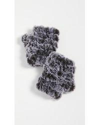 Jocelyn Snowtop Faux Fur Knitted Mandy Mittens - Black