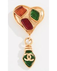 What Goes Around Comes Around - Chanel Heart Dangle Pin - Lyst