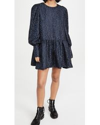 Never Fully Dressed Navy Leopard Jacquard Mini Dress - Blue