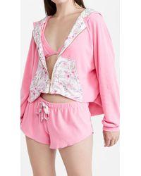 LoveShackFancy X Hurley Hawaiian Hibiscus Terry Zip Up Hoodie - Pink